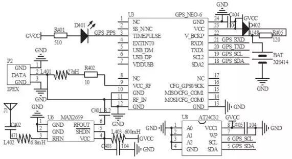 gps芯片与主控制器之间通过串行总线通信,电路中的ee prom